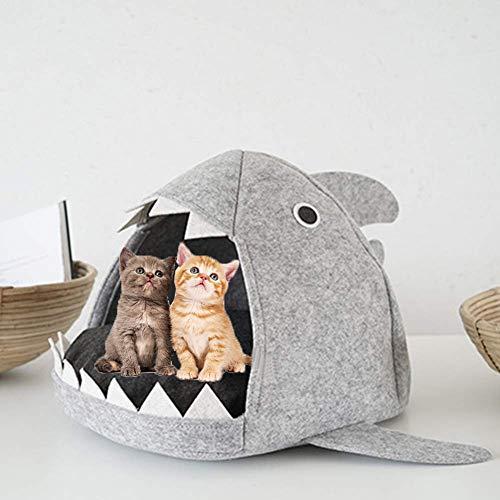 Emorias Katzenbett Hai Nest Hundehaus Hundebett Herausnehmbares Weicher Grau Hai Haustiernest Für Mittel und Klein Katzen und Hunde Material:Filz,Größe:55 * 65 * 33cm 1Stück