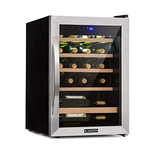 Klarstein Vinamour 19 - Weinkühlschrank mit Glastür, Weinkühler, Weintemperierschrank, 19 Weinflaschen, 65 L, 4-18°C, 39 dB, Innenraumbeleuchtung, Touch-Bedienung, Edelstahlrahmen, schwarz