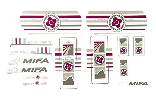 Fahrrad Dekor Satz Aufkleber Rahmen Frame Decal Sticker MIFA Lila Grau