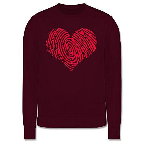 Statement Shirts - Herz Fingerabdruck Rot - Herren Premium Pullover Burgundrot