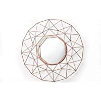 DOWNTON INTERIORS Modern Round Copper Rose Gold Decorative Wire Wall Mirror (SMI0841) ** Full Range Of Mirrors Are Available **