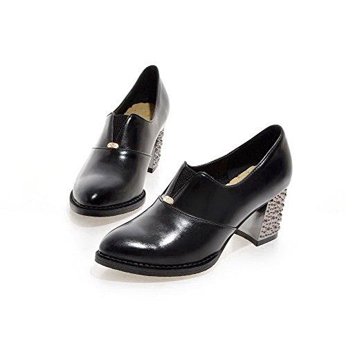 AllhqFashion Femme Matière Souple Pointu à Talon Correct Tire Mosaïque Chaussures Légeres Noir