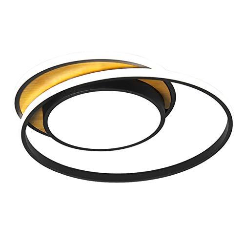 ZRSZ 28W LED Deckenleuchte Aus Holz, Moderne Dimmbar Ring Designer Deckenlampe,Esszimmerlampe Schalfzimmerlampe Badezimmerlampe Acryl Beleuchtung Schwarz Rund 45cm[Energieklasse A++]