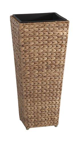 GARTENFREUDE Pflanzkübel Pflanzgefäße Blumenkübel Blumentopf für Blumen etc. mit Wasserhyazinthe 28 x 28 x 60 cm, inkl. wasserdichtem Kunststoffeinsatz, naturfarben