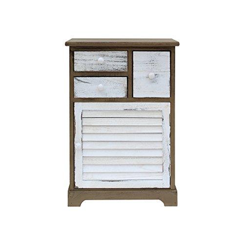 Rebecca mobili armadietto comodino bianco marrone decapato 3 cassetti 1 anta stile shabby legno camera da letto bagno ingresso (cod. re6073)