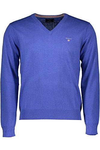 GANT Herren Pullover COTTON WOOL V-NECK blau 486