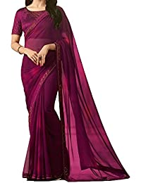 Macube Saree Women's Georgette Wine Color Saree With Blouse Piece(MS1728_wine)