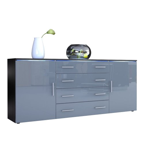 sideboard kommode faro v2 korpus in schwarz matt front in grau hochglanz smash. Black Bedroom Furniture Sets. Home Design Ideas