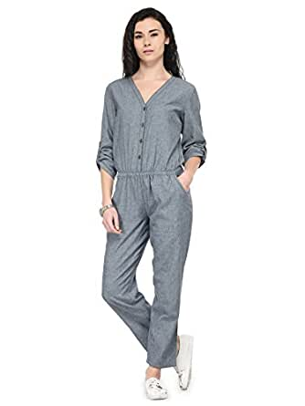 5e63e2468545 Tunic Nation Women s Grey Ankle Length Denim Jumpsuit  Amazon.in  Clothing    Accessories
