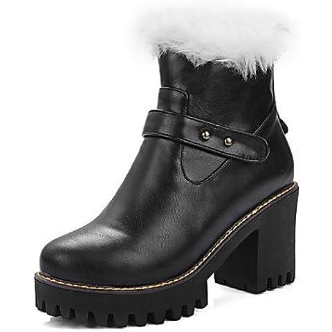 lfnlyx botas para mujer otoño/invierno nieve Botas/punta redonda vestido grueso talón botas de nieve con cremallera negro/marrón/almendra/otros, marrón, us10.5 / eu42 / uk8.5 / cn43