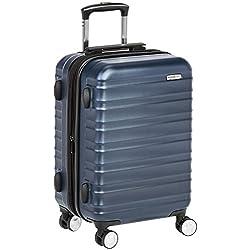 AmazonBasics Valise rigide à roulettes pivotantes de qualité supérieure avec serrure TSA intégrée, Taille cabine 55 cm, Bleu marine