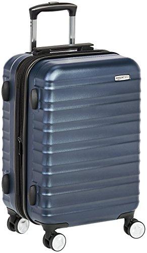 AmazonBasics - Trolley rigido Premium con rotelle pivotanti e lucchetto TSA integrato, bagaglio a mano 55cm, Blu marino