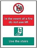 Caledonia segni 21248H Sign, in caso di incendio non usare l' ascensore, usare scale