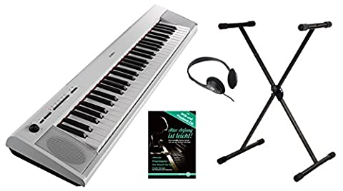Yamaha PIAG NP Kit de 12wh portable Piano Gero (61 touches, 10 sons de Top, fonction record, avec support de clavier, école Casque et Piano, USB Host, fonctionnement sur batterie possible) Blanc