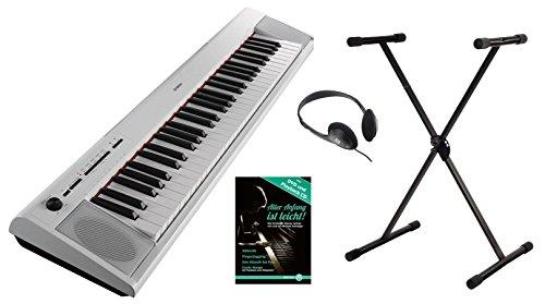 2WH Portable Piano Set (61 anschlagdynamische Tasten, 10 Top-Sounds, Record-Funktion,inkl. Keyboardständer, Kopfhörer und Klavierschule, USB to Host, Batteriebetrieb möglich) weiss ()