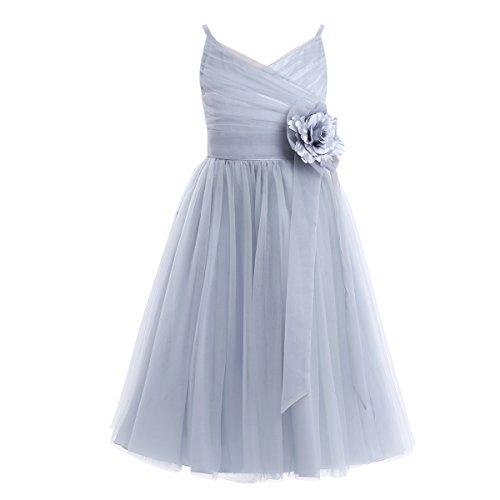 TiaoBug Mädchen Kinder langes Kleid festlich elegant Blumenmädchenkleider A-Linie ärmellos...