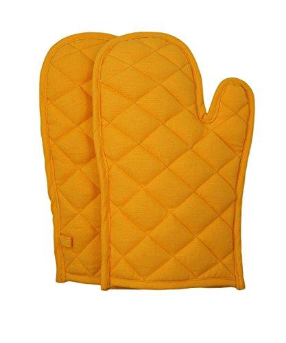 ShalinIndia coton gants de cuisine Ensemble de 2 gants de cuisine matelassés, og02-5904p, jaune, 8 x12 pouces