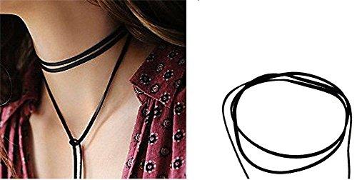 KiwiTwo Collana donna Black lungo Fashion pelle PU per Collana donna Choker gotico della catena di nylon e regolabile, in lega metallica, colore: Glod, cod. KT02235-GD