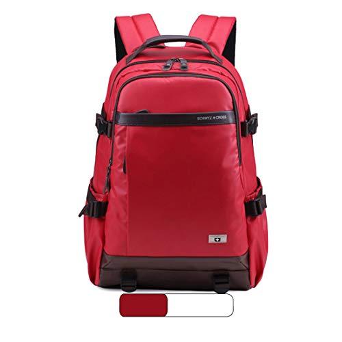 KERVINFENDRIYUN YY4 15-Zoll-Schulter-Laptop-Beutel-Rucksack-beiläufige Kursteilnehmer-Beutel-Reise im Freien Wasserdichte große Kapazitäts-Rucksack (Color : Red)