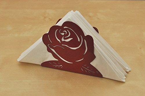 Serviettenständer Serviettenhalter Rose rot aus Metall