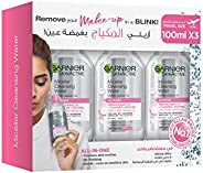 Garnier Micellar Water & Makeup Remover - 3x 100ml Travel