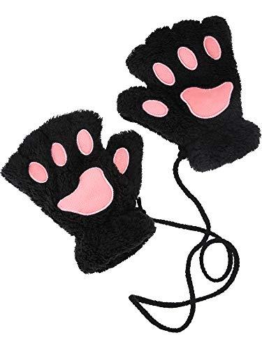 Katze Pfote Handschuhe Kunstpelz Handschuhe Nette Katze Mitt mit Hängenden Seil für Mädchen Damen Kostüm Cosplay, Schwarz