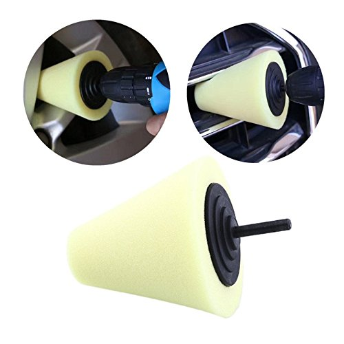 Dailyinshop Polierschaum-Schwamm-Polierkegel-Geformte Polierkissen für Auto-Rad-Nabe (Farbe: Gelb) -
