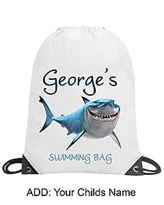 Boys Fish Shark Personalised School Gym Swimming PE Nursery Drawstring Bag