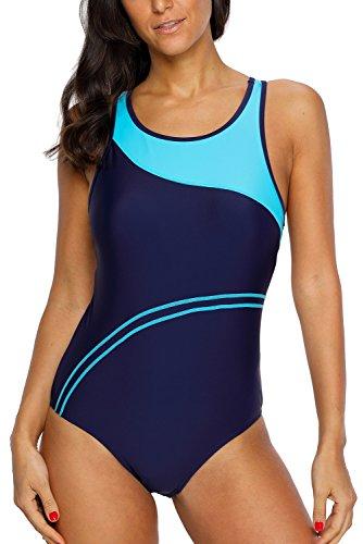CharmLeaks Damen Einteiler Figuroptimizer Sport Badeanzug Essential Endurance Streifen Blau 42 (Herstellergröße XL)