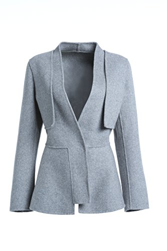 DP Mode kurz Damen V-Neck Hoher Bund Jacke Mantel 100% Wolle Grau DP3311