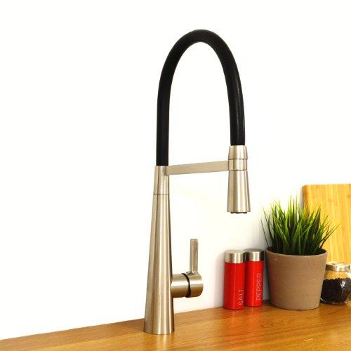 Preisvergleich Produktbild Enki Pull Out Spray Küchenarmatur Moderne Hoch gebürstetes Nickel & Schwarz Madeira