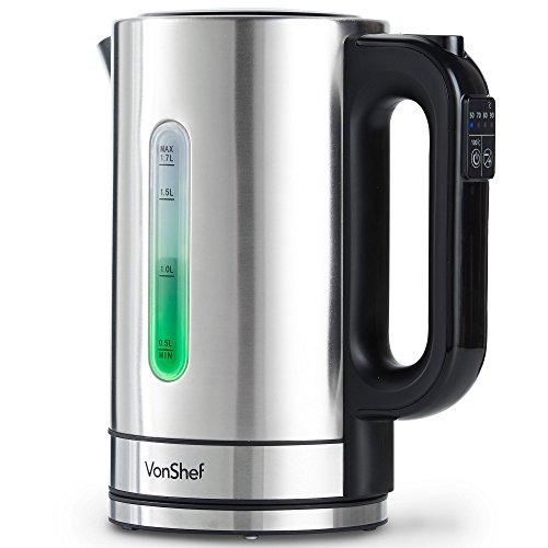 VonShef 1,7L Wasserkocher mit Temperaturwahl - 5 Verschiedenen Temperatureinstellungen, Edelstahl und LED-Beleuchtung - 2200W