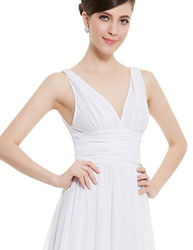 Ever Pretty Robe de Soirée V-Col Longue Mousseline 09016 Blanc