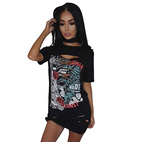 OverDose Damen Frauen Vintages weg vom Schulter Rock Art langes T-Shirt Minikleid Long Mini Dress (S, (Kostüme D&g)