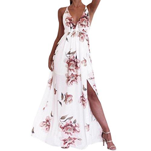 DAY8 Robe Femme Chic Soiree Robe Longue Femme Été 2018 Grande Taille Dos Nu Fleur Boheme Robe De Plage Robe Vintage Femme pour Mariage Cocktail Maxi Jupe Robe Bustier Mode Printemps (M, Blanc)