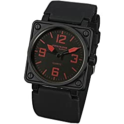 INFANTRY® Mens Quartz Wrist Watch Red Square Black Rubber Strap INFILTRATOR