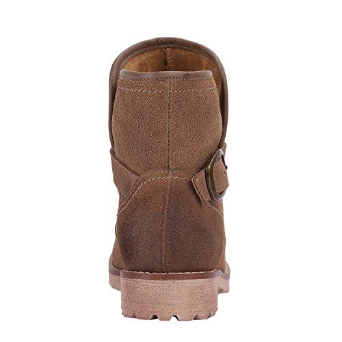 LiKing 01-013 Damen Cowboy Boots Echt Leder Hellbraun