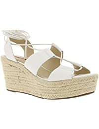 618e0411d152 Buffalo Keilabsatz Sandalette Bast-Optik Schuhe Sandale Echtleder Weiß