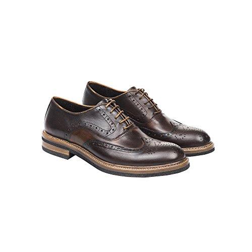 UominiItaliani - Chaussures élégantes en cuir à lacets pour hommes Made in Italy - Mod. 1155 2355 Tan - Brun foncé - Noyer