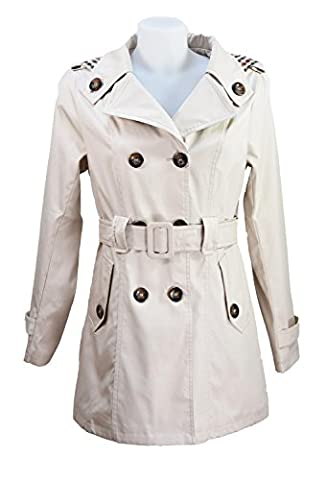 Miss Rouge:Trench,imperméable,noir,kaki,beige (M, BEIGE)