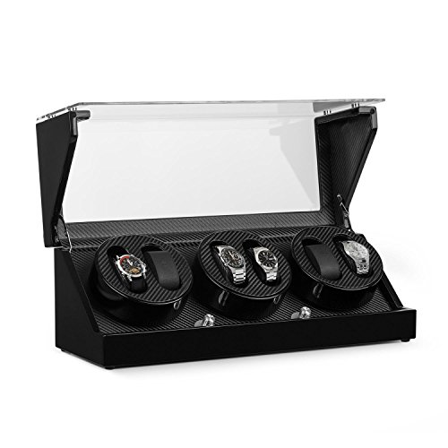 Klarstein repräsentativer Uhrenbeweger für 6 Uhren in Karbon-Optik handgearbeitet (4 Programme, integr. Akku) leise