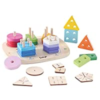 Wooden Shape Sorter Educational Toys - Early Educational Geometric Sorting Board Stacking Blocks Color Perception With 5 Shapes Number Puzzle Games for Toddlers 3+ Years Old Boys Girls Children