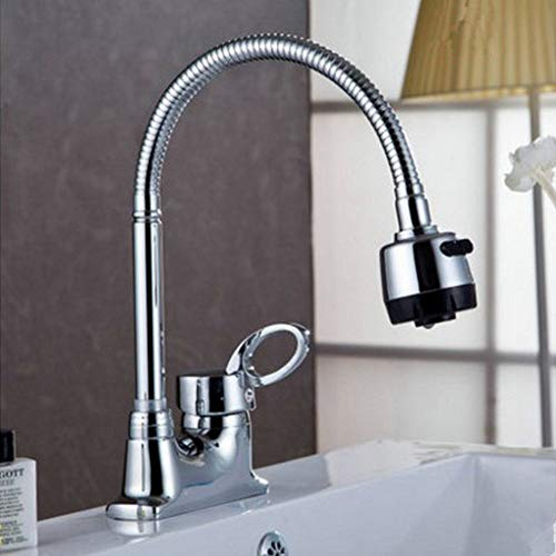 S+S Badezimmer Washbecken Einle Doppel Faucet Hot and Cold 3 Basin Faucet Universal Rotation