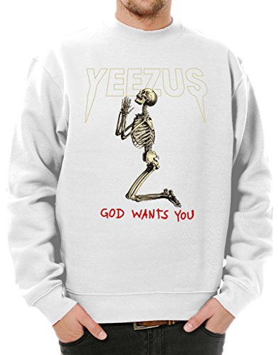 Ulterior Clothing Yeezus God Wants You Praying Skeleton Sweatshirt