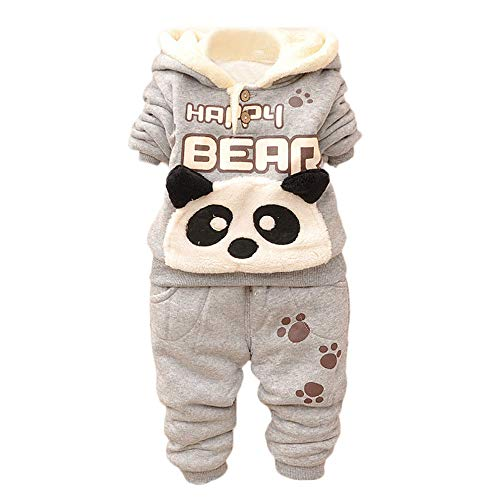 Kobay Baby Kinder Jungen Set Kleidung Langarm Karikatur Panda Top + Hosen(18-24M,Grau) -