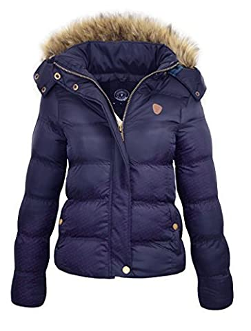 NEW WOMENS LADIES QUILTED WINTER COAT PUFFER FUR COLLAR HOODED JACKET PARKA SIZE HOPPJKT (10, NAVY)