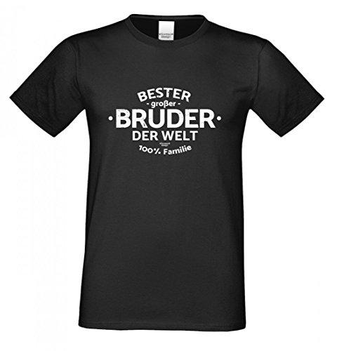 Family T-Shirt - Bester großer Bruder der Welt - lustiges Hemd als passendes Geschenk oder Outfit für Brüder - schwarz - XL
