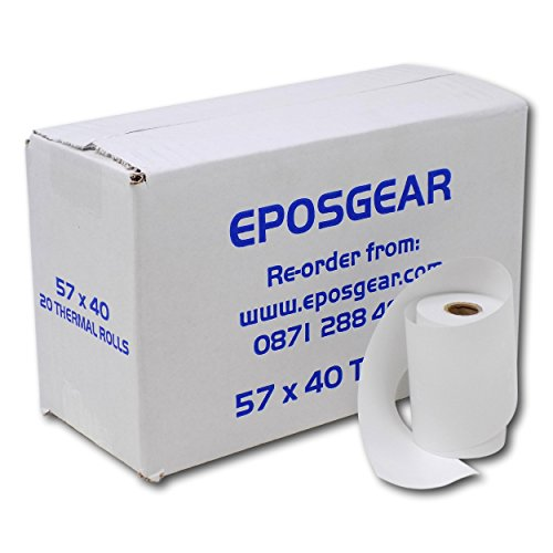 EPOSGEAR® (20 Rolls) Worldpay iCT250 Compatible Thermal Paper Credit Card PDQ Swipe Machine Rolls