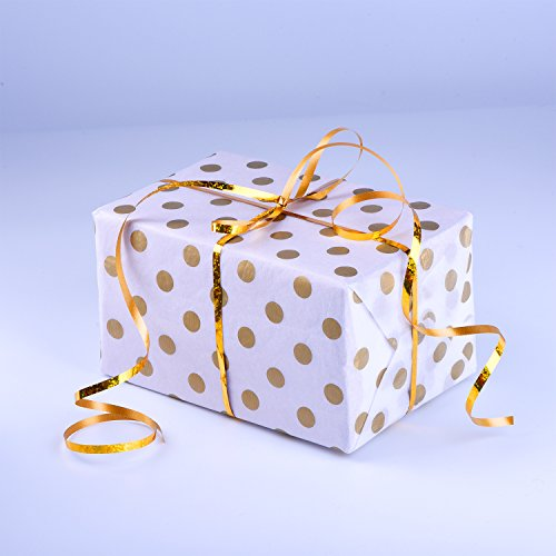 Shappy Polka Punkte Gewebe Papier Punkt Verpackung Papier, Gold und Weiß, 28 Zoll durch 20 Zoll, 30 Blätter