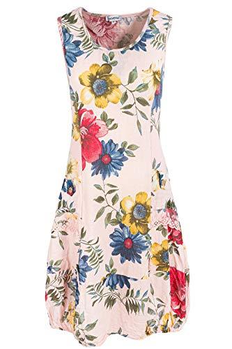 PEKIVESSA Damen Leinenkleid mit Blumen Sommerkleid Knielang Altrosa 40 (Herstellergröße L)
